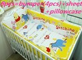 Promotion 6PCS Winnie Embroidered Boy Crib Bedding set Baby Cot Crib Bedding Sets bumpers sheet pillow