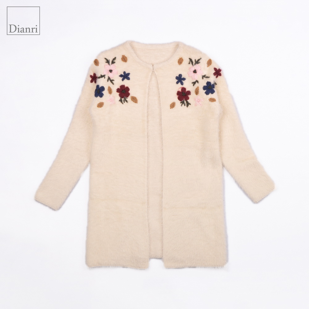 women metal hidden-interlocking embroidered flowers long sweater cardigan