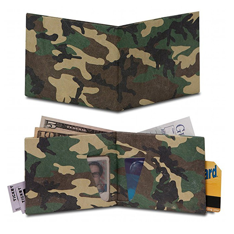 Camouflage Custom Recycle Eco-friendly Lightweight Waterproof Dupont Tyvek Paper Billfold Private Label Wallet