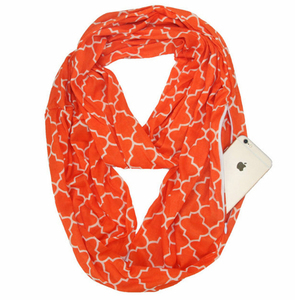 Wish Amazon hot sell Clover Print Travel Infinity Scarf With Hidden Zipper Pocket light weight Soft Stretchy Jersey scarf