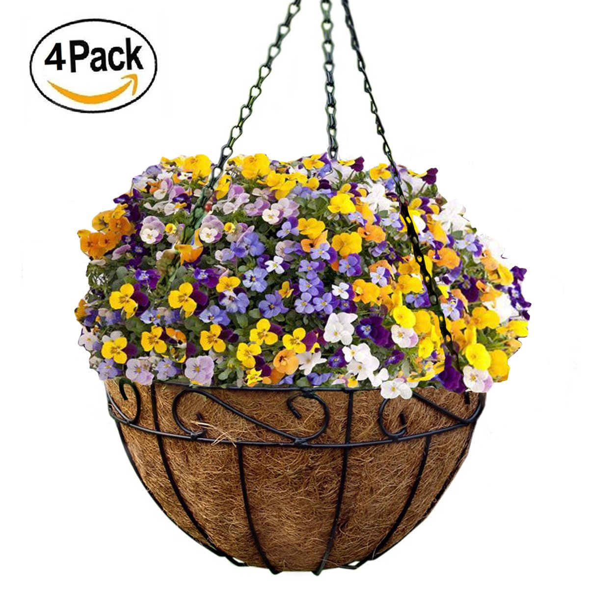 Get Quotations 4 Pack Metal Hanging Planter Basket With Coco Coir Liner 10 Inch Round Wire Plant Holder