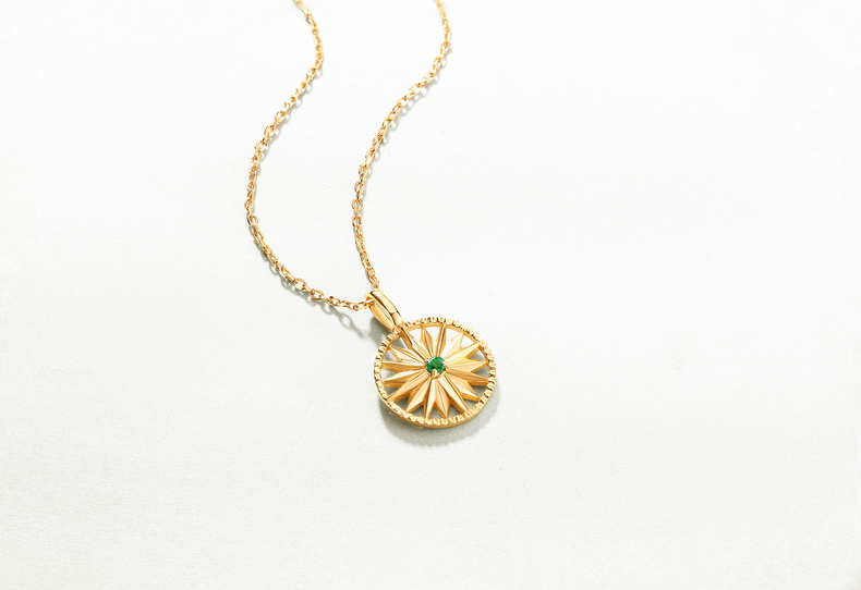 Wholesale fashion jewellery gold plated 925 silver emerald round plain star disc pendant