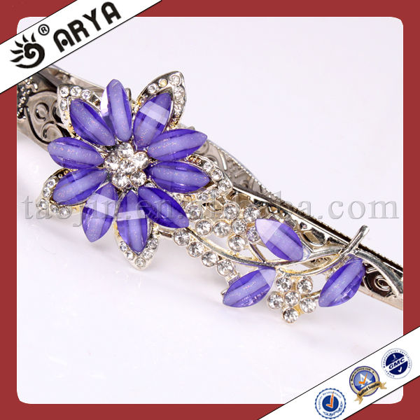 Metal Curtain Clips With Purple Resin Flower Rhinestone Crystal Curtain Hook