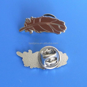 Silver plated engraved feather shape metal lapel pin badge with butterfly clasp backing