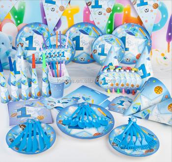 Blue Baby Boy Birthday Theme Party Tableware Set Baby Shower Decor