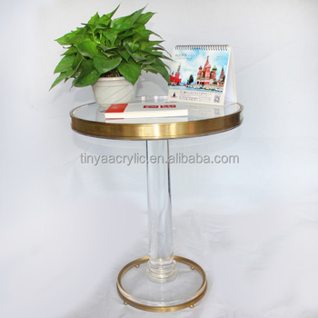 Clear Super Thick Accent Round Acrylic Coffee Table With Golden Copper  Metal Circle U0026 1 Large