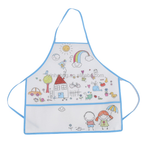 Wholesale eco friendly non woven kids arts painting apron with pen pocket