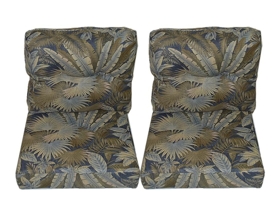"""Tommy Bahamian Breeze - Ocean Blue - Palm Leaf Tropical Fabric Cushions for Patio Outdoor Deep Seating Furniture Loveseat - Choose of Size (SEAT CUSHION - 24"""" W X 27"""" D / BACK CUSHION - 24"""" W X 21"""" D)"""