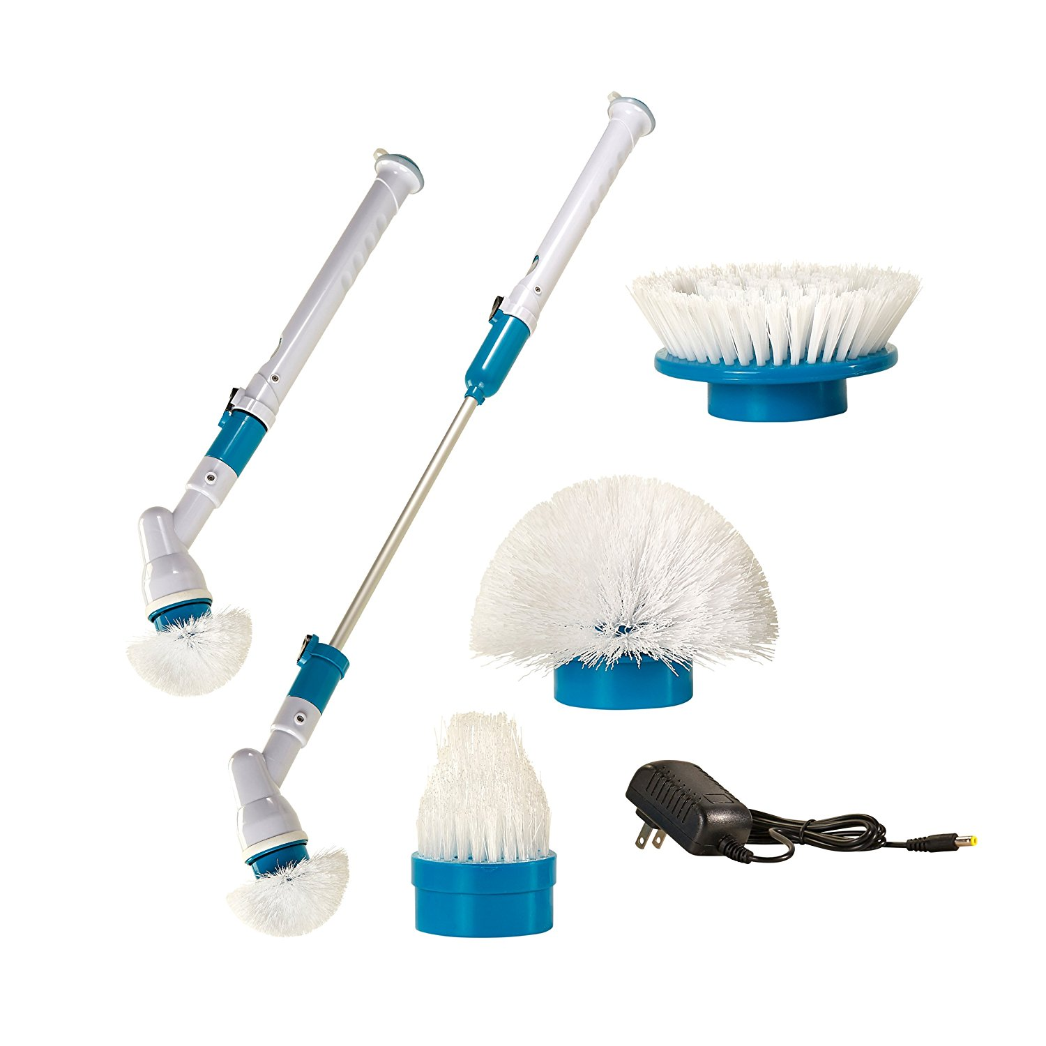 Power Spin Scrubber: Electric, Rechargeable, Cordless Turbo Scrubber - With Extension Handle, Adapter, Charger, 3 Brush Heads - For Multi-Purpose Uses Bathroom/Floor/Wall/Kitchen/Tile
