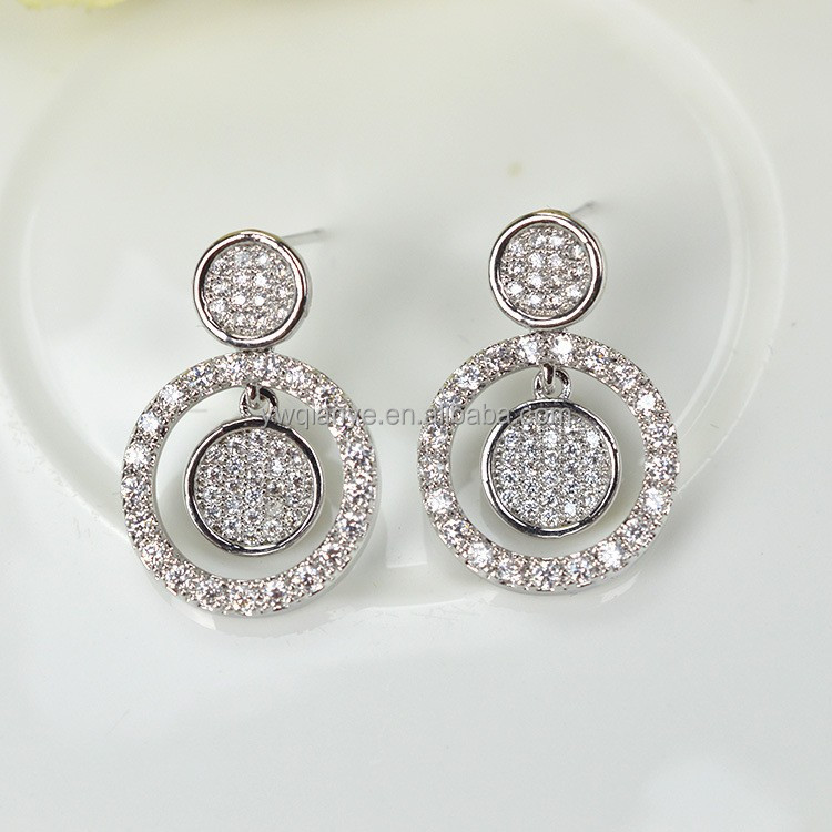 gold plated jewelry , crystal glass stones stud round shape post earring