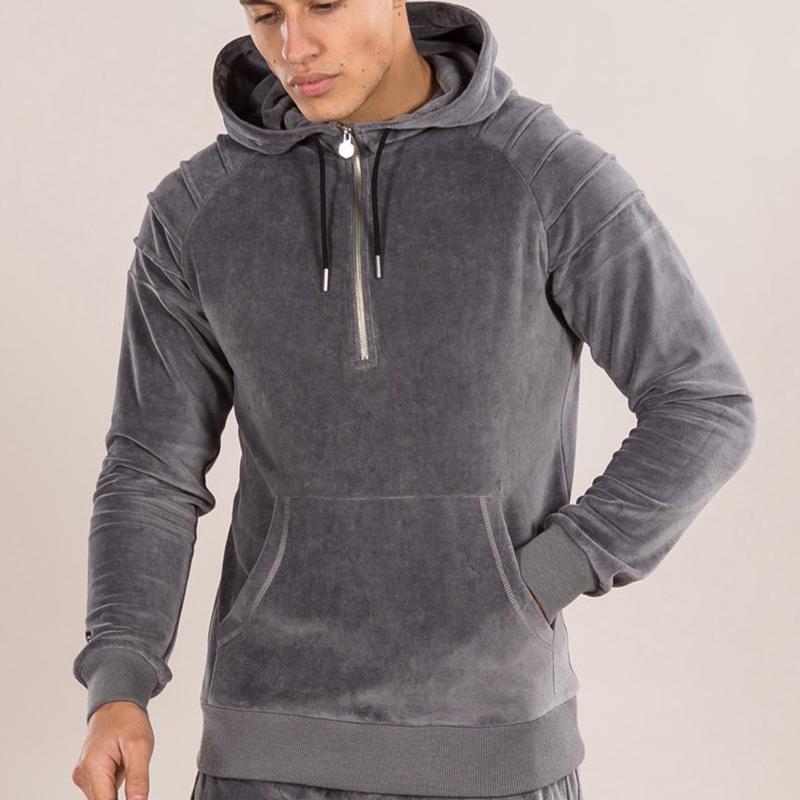 2018 new stylish plain cotton bulk velour sweatsuit custom velvet tracksuit men