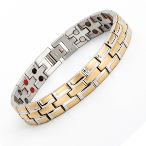 New arrival bio energy stainless steel 22k gold bracelet jewelry