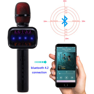 Eshishang new fashion E109 wireless karaoke microphone with colorful LED lights and voice changer function for KTV