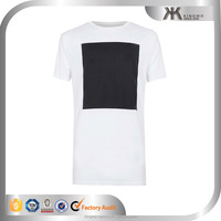Custom mens white square printing t-shirts fancy 100% cotton t shirts summer wear for man