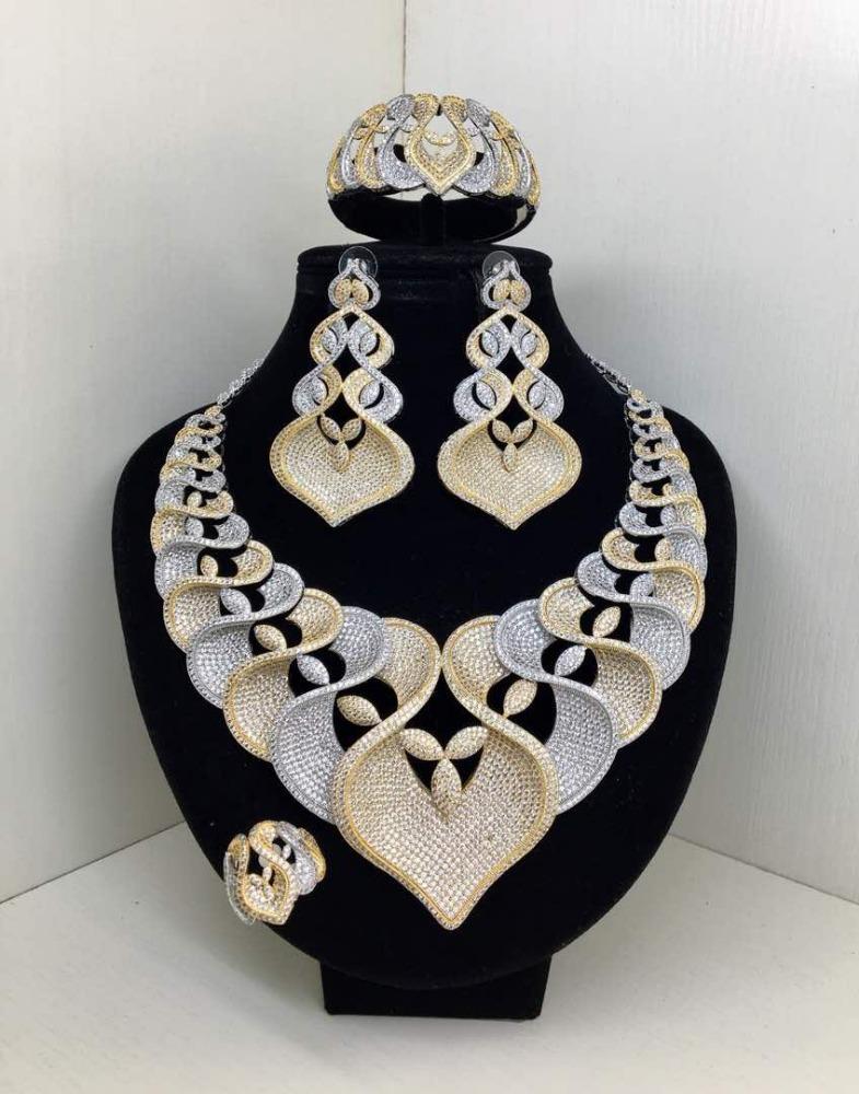 American Diamond Jewellery Necklaces Set Ad Bracelet Earrings Costume Women Wedding Heart And Arrows Cubic Zirconia Gold Alibaba Com Imall Com