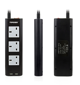 Low price TOPEREK electric power strip for Ireland UK traveling USB power socket with 4 Ports USB Charging Outlets
