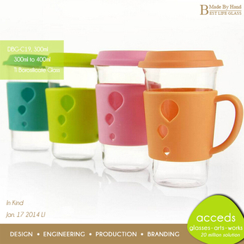 300ml Customized Pyrex Glass Coffee Travel Mug With Handle Buy
