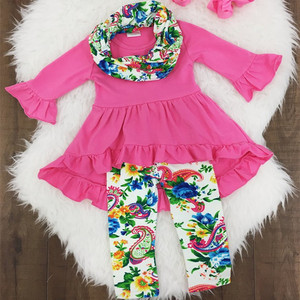 Custom made kids outfits solid children clothes floral pants baby clothing sets fancy toddler girl clothing