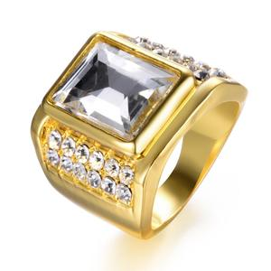 Big Stone Geometric Square Finger Ring Gold Color Men's Rings