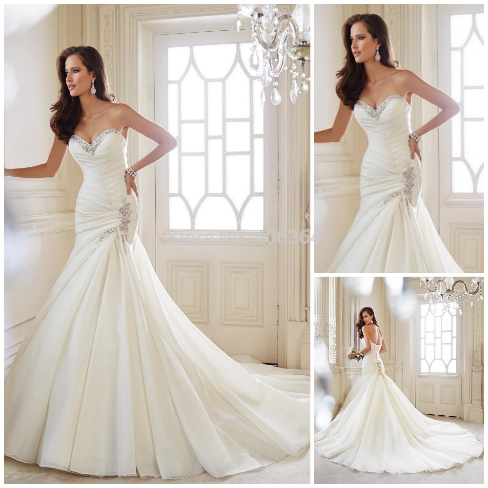 2014 New Design Sweetheart White Wedding Dress With Beaded