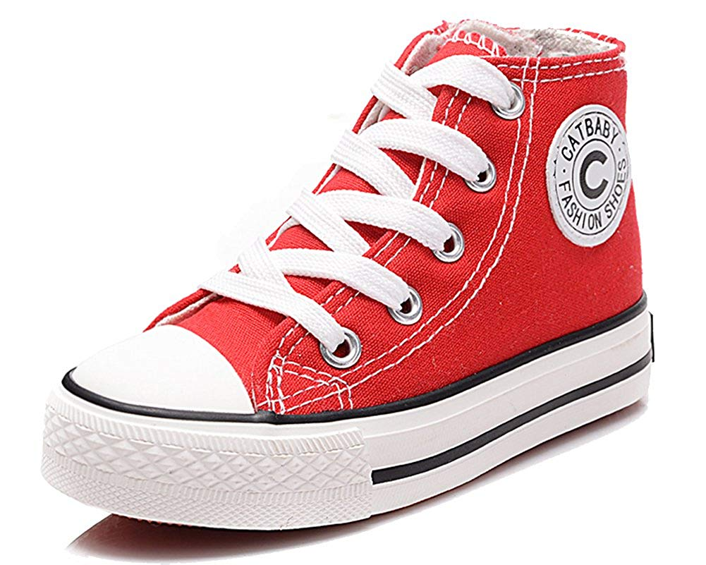 iDuoDuo Boys Girls Classic Zipper Canvas Shoes Lace up Kids Sneakers High Tops (Toddler/Little Kid)
