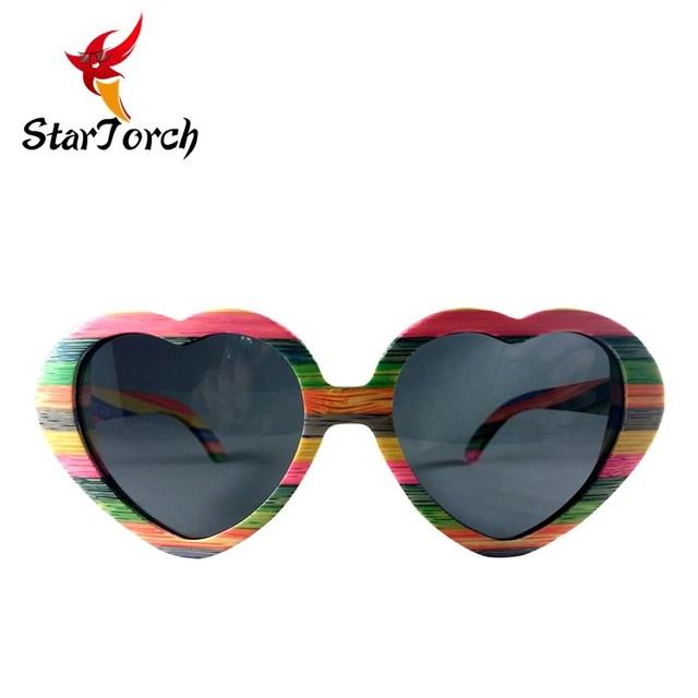 d030adfb3c Bambú de madera amor corazón forma color del arco iris gafas de sol  personalizados a granel