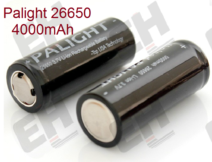 Efan 26650 Battery 2 Pieces Palight BG 3.7V 26650 Battery 4000mAh Rechargeable Li-ion Flat Battery(2pcs) For Power tools