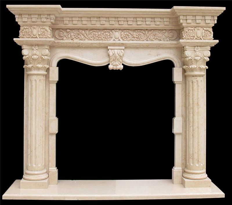 Customized Size Hand Carved wood burning marble fireplace