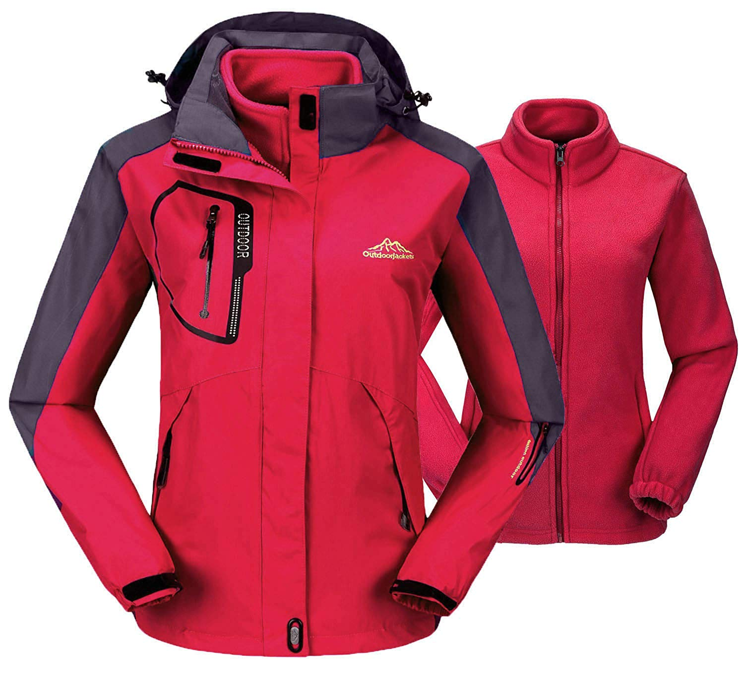 b3bee587a2cc5 Get Quotations · TBMPOY Women s 3-in-1 Winter Jacket Outdoor Waterproof  Softshell Rain Jacket