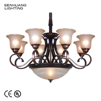 Exterior Large Ornaments Glass Arms Clear Crystal Long Pedant Chandelier