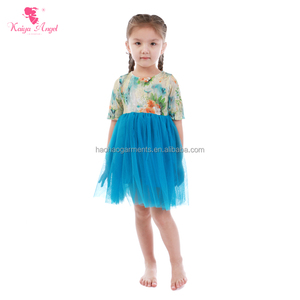 Hot Sale 2018 Children Floral Printed Dress Baby Girl Boutique Clothing Ruffle Party Princess Dress