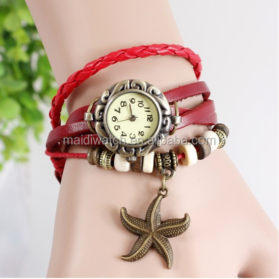 Cheaper Fashion Women Leather Bracelet Watch Retro Watch Starfish Butterfly Owl Vintage Watches different styles VW011