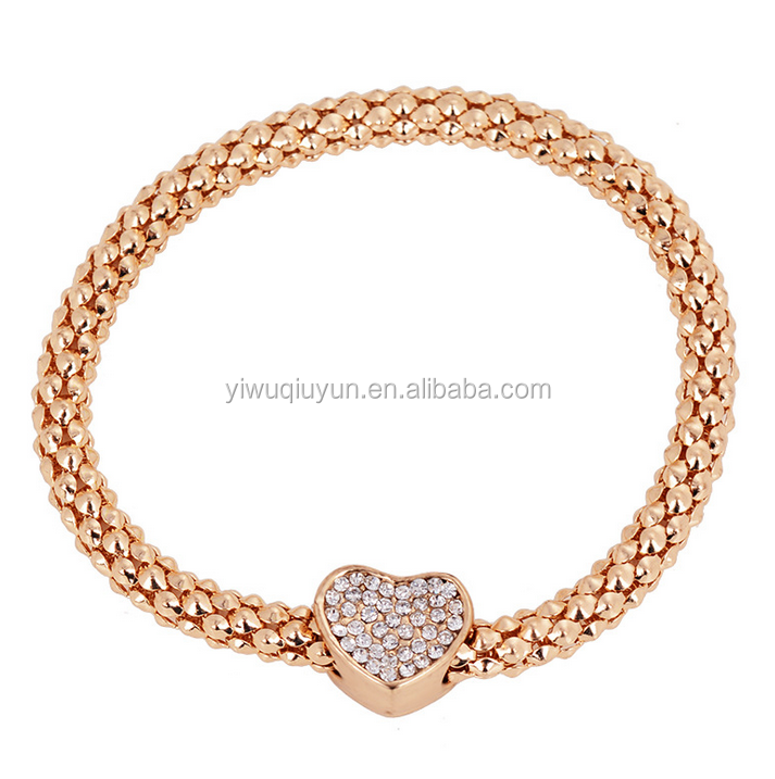 Gold Plated Rhinestone Heart Charm Snake Chain Bracelet Bangle For Women Romantic Birthday Gift For Wife