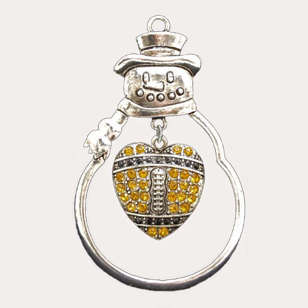 6a30313a0c6 New Orleans Saints or Pittsburgh Steelers Football Heart Charm Ornament.  Dangling Heart is Embellished with