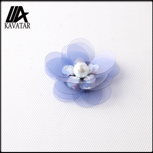 New arrival blue lucency sequin flower with pearl for decoration