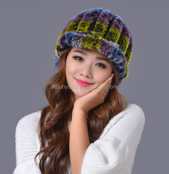 2016 Women s fur hat rex rabbit hair hat with ball on top fashion hot sale  winter 489af60e26c