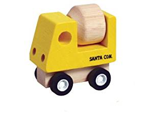 Mini Wood Toy Cement Truck Made from Durable Wood for Boys and Girls