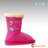 HC-509 Plush lining pink super warm kids double crystal buttons winter shoes supplier China