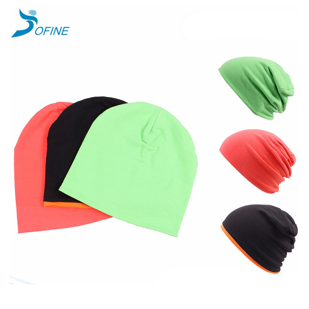 Wholesale Custom Outdoor Running Slouch Pattern hat Soft Jersey Fabric Knit cap Reversible 100% cotton beanie