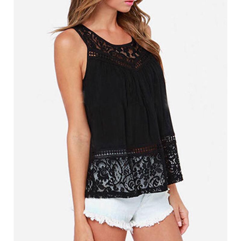 8bca9b0c28014 White Lace Chiffon Blouse Sleeveless Women Blouses Summer Womens Tops  Fashion 2015 Plus Size Casual Shirts