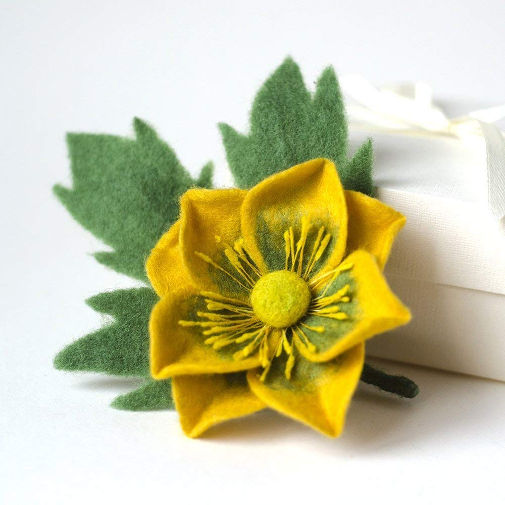 62fd2effa2e Get Quotations · Handmade Yellow Flower Brooch Anemone Felted Pin Green  Jewelry Floral Broach Unique gift for Woman Gift