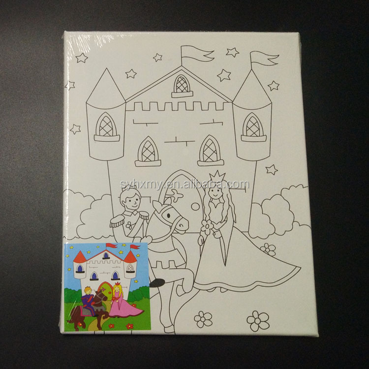 DIY stretched canvas for kids pre printed canvas paint by numbers on canvas