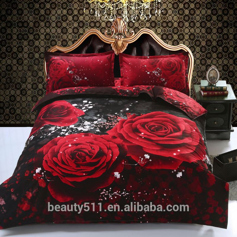 Wholesale bed sheets four sets of encounter manor rose printing home textiles bed large 3d four-piece bedding sheet set BS57