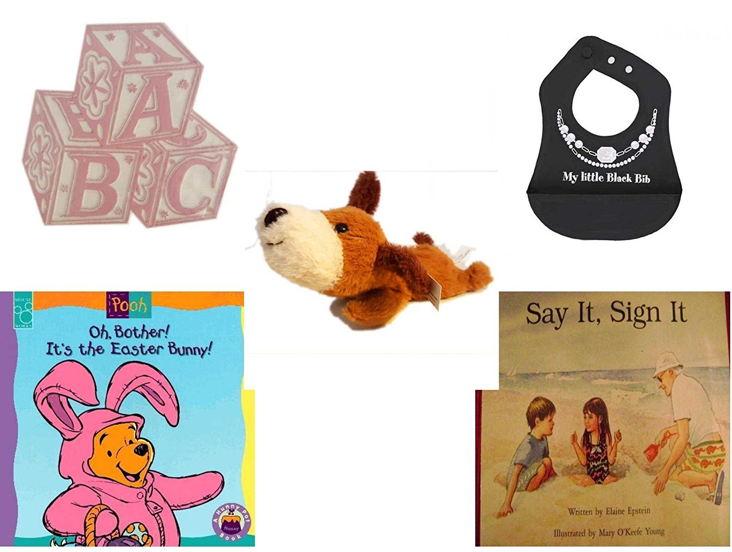 Children's Gift Bundle - Ages 0-2 [5 Piece] - ABC Baby Blocks Cake Topper Pink Girl - Ganz Baby Girl's My Little Black Bib Silicone Crumb Catcher - Soft n' Cuddly Big Head Puppy - Oh, Bother. It's t