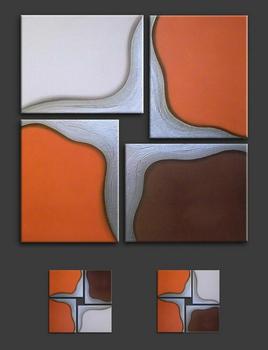 Lukisan Abstrak Di Orange Lukisan Minyak Untuk Ruang Tamu