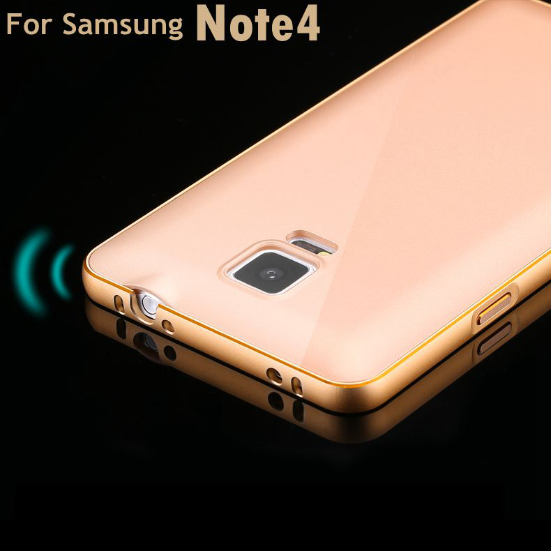online retailer 66002 b8649 For Samsung Note 4! Metal Aluminum +Slim Back Capa Case For Samsung Galaxy  Note 4 N9100 Luxury Hybrid Hard Armor Cover