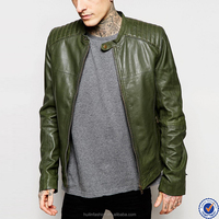 bulk wholesale clothing for men zip opening long sleeve mens dark geen leather jackets