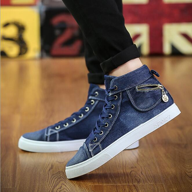 zm42338a high top men fashion sneakers jeans canvas shoes