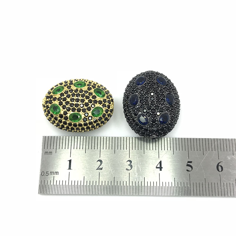 Oval Shape Zircon Micro Pave CZ Charms, Zircon Micro Pave Bead Jewelry Accessory Spacers For Bracelet