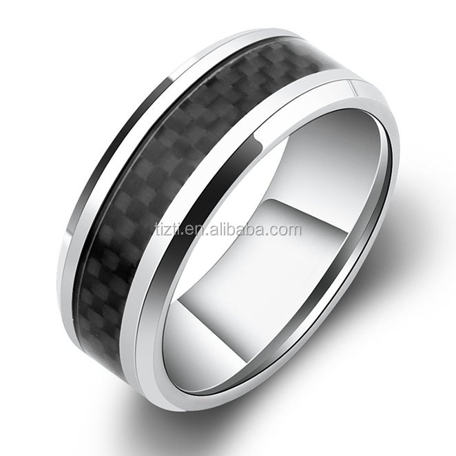 8mm Titanium Ring Inlaid Black Carbon Fiber Silver White Beveled Men's Titanium Ring Comfort Fit Wedding Bands Promise Rings